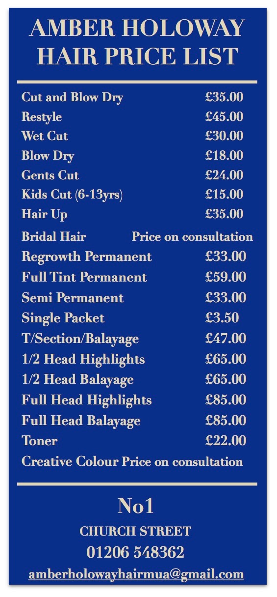 Amber Holoway Hair Price List